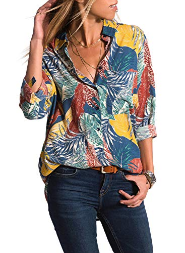 Astylish Women's Elegant Cuffed Sleeve V Neck Button Down Floral Printed Blouse Casual Tops and T Shirts for Work Medium 8 10 ()