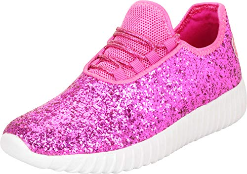 Cambridge Select Girls' Low Top Glitter Encrusted Lace-Up Fashion Sneaker (Toddler/Little Kid/Big Kid),11 M US Little Kid,Fuchsia Glitter