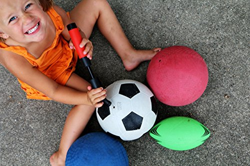 Fitness Factor Small Dual Action Ball Pump - Air Pump for Inflatables with Needle for Basketball, Volleyball, Soccer, Football, and Sport Ball Inflation - 2 Additional Inflating Needles