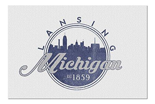 Lansing, Michigan - Skyline Seal (Blue) (20x30 Premium 1000 Piece Jigsaw Puzzle, Made in USA!) (Lansing Park Anderson)