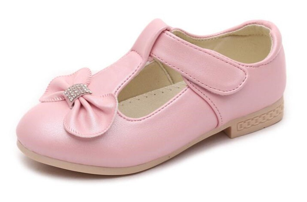 Bumud Kids Girl's Mary Jane Bow T-Strap Ballet Flats Shoes(Toddler/Little Kid) (11 M US Little Kid, Pink)
