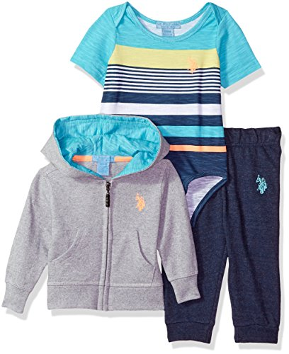 U.S. Polo Assn. Baby Boys T-Shirt, Jacket and Pant Set, Aqua Interior Hood Indigo Blue Heather, 6-9 Months