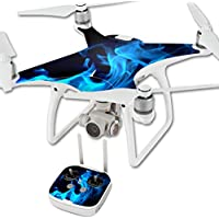 MightySkins Protective Vinyl Skin Decal for DJI Phantom 4 Quadcopter Drone wrap cover sticker skins Blue Flames