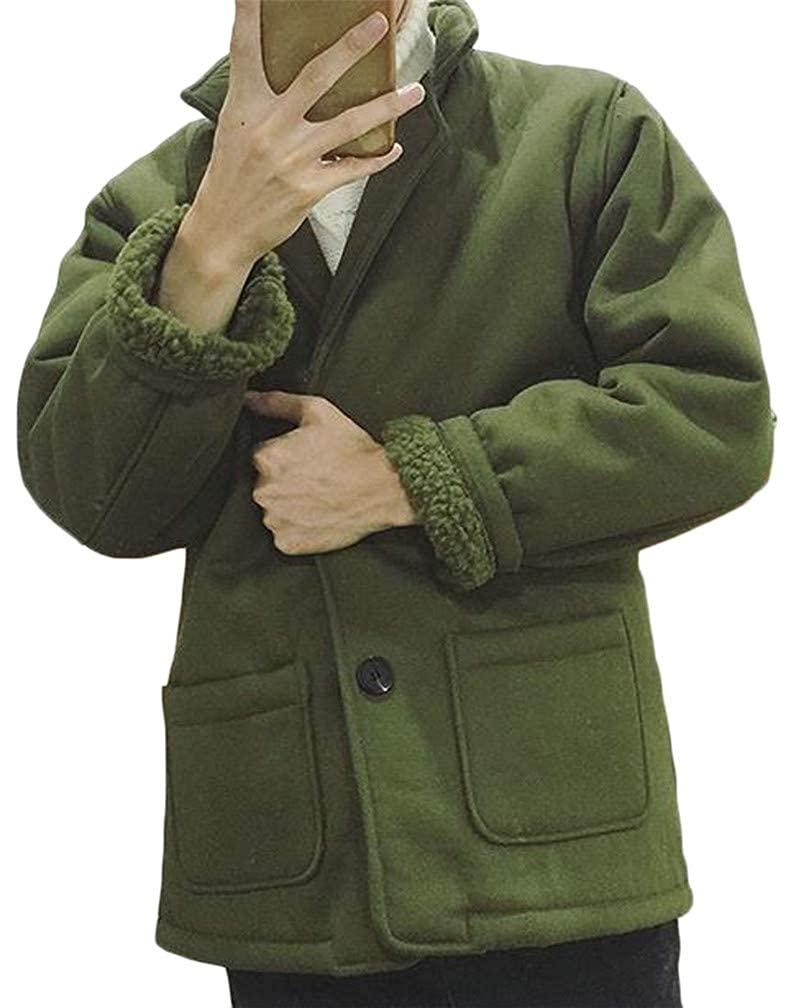 Hajotrawa Mens Lapel Neck Pocket Faux Fur Lined Slim Padded Jacket Parka Coat