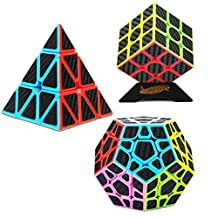 Dreampark Speed Cube Set [3 Pack] 3x3x3 Pyramid Megaminx Carbon Fiber Sticker Magic Cube Bundle Puzzle Cube Toys for Kids and Adults