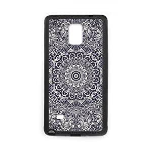 Diy Cool Mandala Flower Pattern Customized for samsung galaxy note 4 Black Back Cover Phone Case