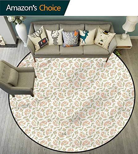 (RUGSMAT Floral Computer Chair Floor Mat,Art Nouveau Style Blossoms Foam Mat Bedroom Decor Round-71)
