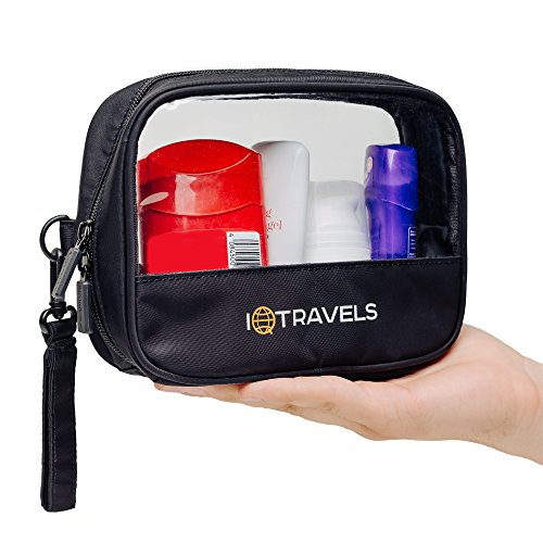 Tsa Approved Toiletries Bag - Clear Toiletry Bag - Quart Size Carry On Men's Clear Bag - 311 Plastic Liquid Zipper Bags -1 Airplane Waterproof Compliant Kit - Airport Makeup Cosmetic Liquids Sized Bag ()