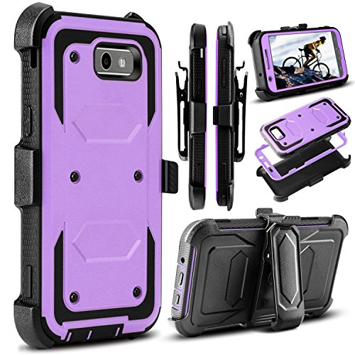 Galaxy J3 Emerge Case, J3 2017 Case, Amp Prime 2 Case, Venoro Heavy Duty Shockproof Full Body Protection Rugged Hybrid Case Cover with Swivel Belt Clip and Kickstand for Galaxy ()