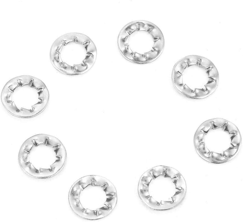 Broco Dentado de bloqueo 100pcs acero inoxidable serrado externa Arandela plana Conjunto de Herramientas de M6