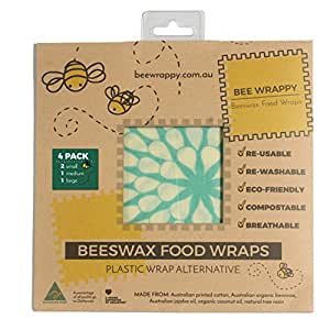 Beeswax Food Wraps 4 Pack By Bee Wrappy Washable And Reusable Alternative To Single Use Plastic Wrap/Saran Wrap. Reusable Sandwich Wrap For Reusable Lunchboxes. Container And Cover For Food. Australian Made. Contains 2 Small (17cm X 17cm), 1 Medium (30cm X 25cm) And 1 Large (34cm X 34cm)