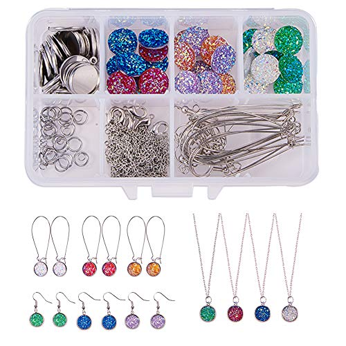 SUNNYCLUE 1 Box DIY 14Set Druzy Jewelry Necklace Earrings Making Kit - 24pcs Flat Back Druzy Resin Cabochons 12mm, 24pcs Blank Dangle Cabochon Setting, Earrings Hooks, 2m Cross Chains, Platinum