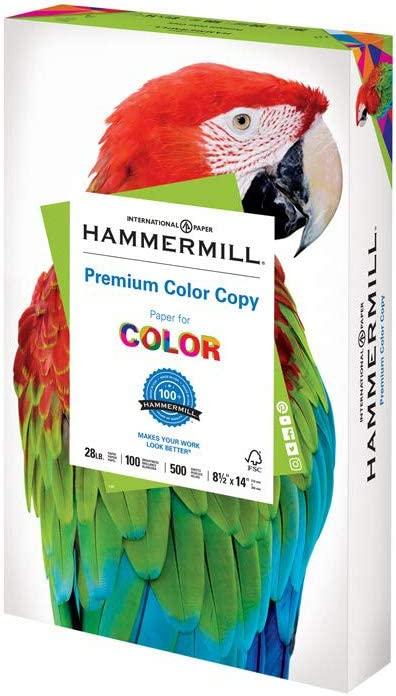 Hammermill Premium Color Copy 28lb Paper, 8.5 x 14, 1 Ream, 500 Sheets, Made In USA, Sustainably Sourced From American Family Tree Farms, 100 Bright, Acid Free, Color Copy Printer Paper, 102475R