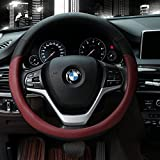 Automotive : Microfiber Leather Steering Wheel Cover Universal 15 inch, Wine Red