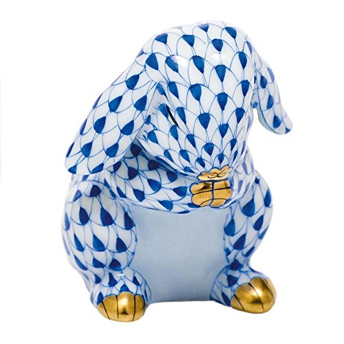 Herend Bunny Figurines (Herend Figurine Praying Bunny Rabbit Sapphire Fishnet)