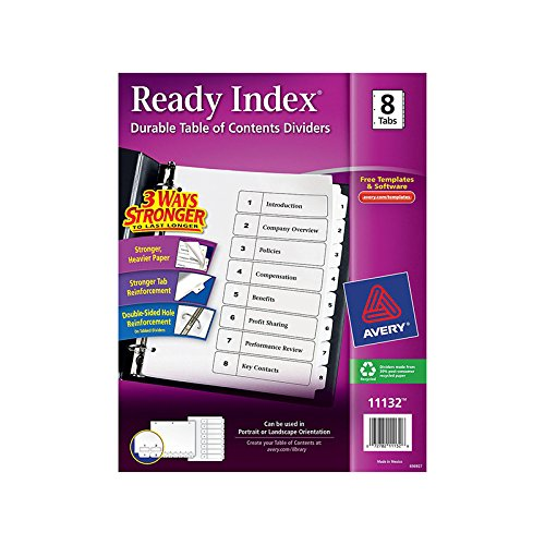 AVERY PRODUCTS CORP AVERY 8 TAB BLACK & WHITE READY (Set of 6)