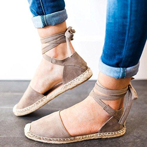 Sandalias CóModo TamañO De Gran Cordones De De Y Zapatos Mujeres Las Correas Planas Elegante Sandalias con De Gris De ¡Liquidación Lino Paja qpA7wU