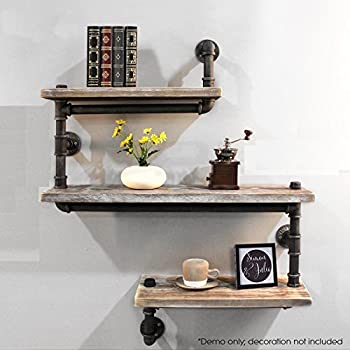 industrial pipe shelving bookshelf rustic modern wood ladder pipe wall shelf 3 tiers. Black Bedroom Furniture Sets. Home Design Ideas