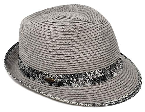 H-6108-51 Multicolor Woven Fedora: Grey w/ Thick Band (Best Hats For Short Hair)