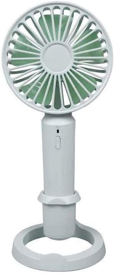 Color : Green, Size : Small Mini Portable Cooling Fan Handheld Stand Fan USB Rechargeable Office Desktop Cooler Summer Mini Fan Two Size Optional
