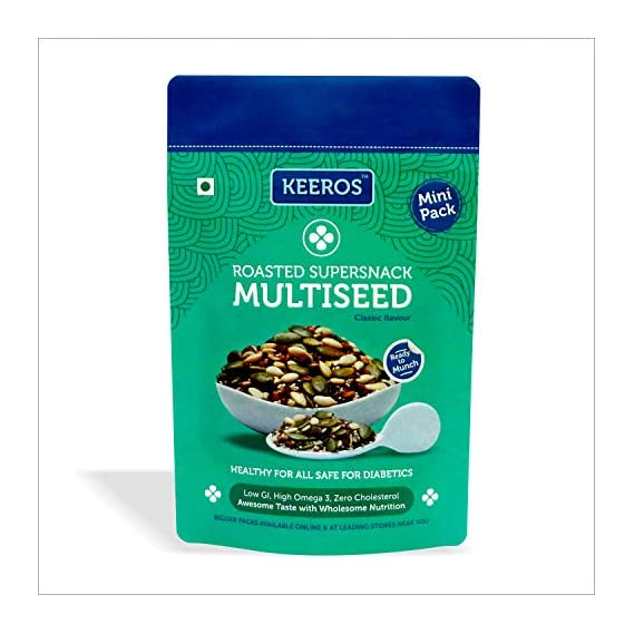 Keeros Multi Seeds Trail Mix : Healthy & Tasty Immunity Booster Snacks with Roasted Flax Seeds, Pumpkin Seeds