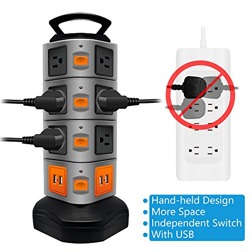 Power Strip Tower LOVIN PRODUCT Surge Protector Electric Charging Station 14 Outlet Plugs with 4 USB Slot 6ft Cord Wire Extension Universal Charging Station 1PACK