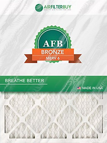AFB Bronze MERV 6 13x21x1 (Actual Size) Pleated AC Furnace Air Filter. Pack of 2 Filters. 100% produced in the USA.