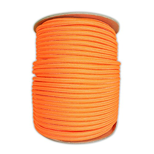 SGT KNOTS Braided Polyester Rope (1/4 in - 6mm) Braid on Braid Stiff Halter Cord - DIY Horse Halter - Low Stretch Cord for Arborist/Tree Rigging, Hiking, Crafting (50 ft - Coil, Neon Orange)