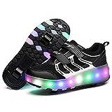 Uforme Colorful LED Lights Heelys Children Light Skate Shoes Fashion Sneakers for Girls Boys (11.5 M US =CN28, Double Wheel Black)