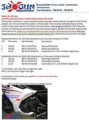 Shogun 2009-2017 Yamaha FZ6R Black Frame Sliders 750-6379 MADE IN THE USA