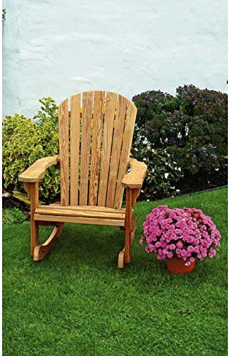 Leisure Lawns Amish Made Yellow Pine Fan-Back Rocker Model #365 - Ships Free Within 2 to 3 Weeks