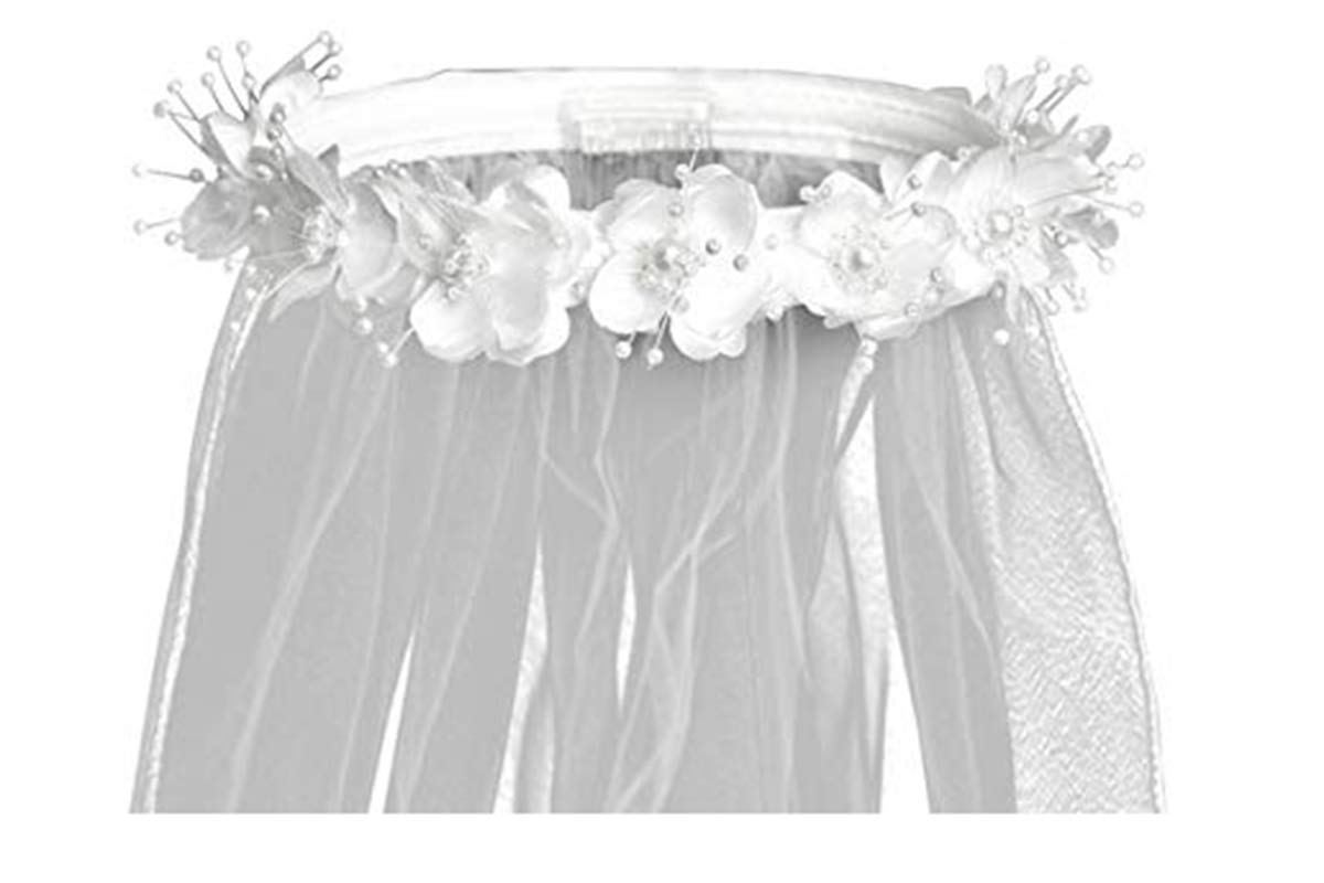 White & Ivory Flower Crown w/Pearl Accents & 30'' Veil Swea Pea & Lili T-4 (White)
