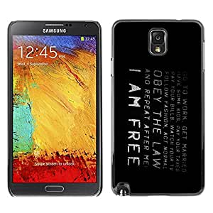 LECELL -- Funda protectora / Cubierta / Piel For Samsung Galaxy Note 3 N9000 N9002 N9005 -- I Am Free --