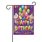 ALAZA Colorful Balloons Happy Birthday Garden Yard Flag 12'' x 18'' Double Sided, Sweet Cup Cake Birthday Party Decorative Garden Flag Banner for Outdoor Home Decor Party