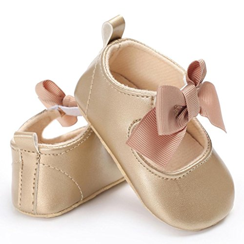 Enjocho 2017 New Spring Autumn Baby Girls Bowknot Princess Soft Sole Shoes Toddler Sneakers Casual Shoes (Age:6~12 Month, Khaki)