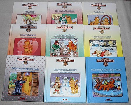 The World of Teddy Ruxpin set: The Airship; The Do-Along Songbook; Double Grubby; Grubby's Romance; Lost in Boggley Woods; Lullabies; Sings Love Songs; Teddy's Winter Adventure; Water Safety with Teddy (Teddy Ruxpin Grubby)