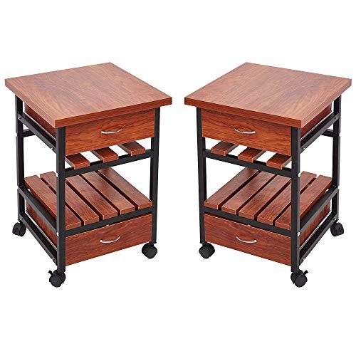 KARMAS PRODUCT Set of 2 Rolling Nightstands End Table with Drawers,Wood Bedroom Living Room Side Storage Shelf,Teak Colour 2 Drawer Teak Nightstand