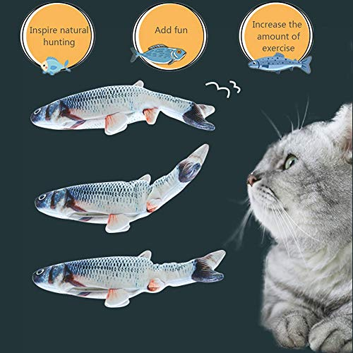 99HOME Coolfm Catnip Toys Simulation Fish Shape Doll Interactive Pets Pillow Chew Bite Supplies for Cat/Kitty/Kitten Fish Flop Cat Toy Catnip Crinkle Toy-A Fish That Moves by Itself with Charger 5