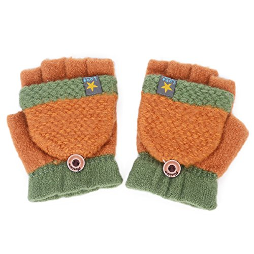 Flammi Unisex Kids Knitted Convertible Flip Top Gloves Mittens