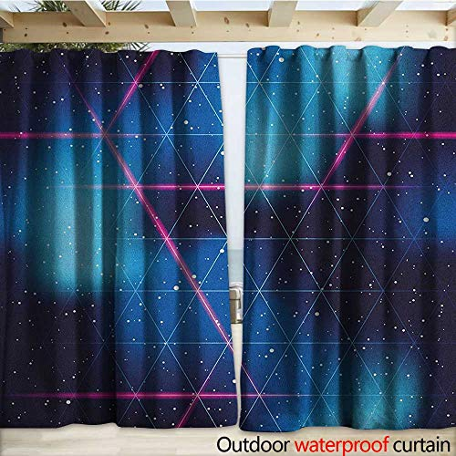 Medallion Blush (warmfamily Navy and Blush Porch Curtains Eighties Inspired Retrofuturistic Triangles Virtual Reality Sci Fi W120 x L108 Indigo Blue Hot Pink)