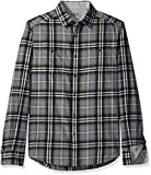 Kenneth Cole Reaction Men's Long Sleeve 2-Pocket Heather Plaid, Heather Grey Combo, Large