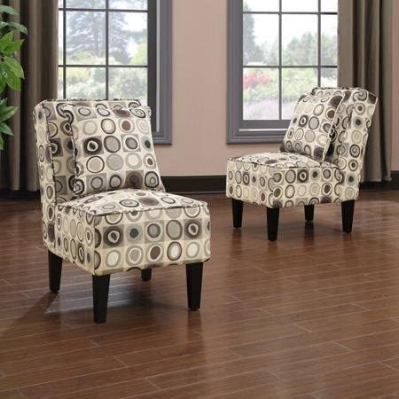 Handy Living Dani Armless Accent Chair, Set of 2, Geometric Circles