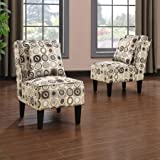Handy Living Dani Armless Accent Chair, Set of 2, Geometric Circles Review