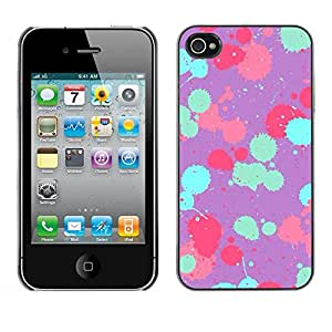 Paccase / SLIM PC / Aliminium Casa Carcasa Funda Case Cover - Teal Pink Purple Paint Pattern - Apple Iphone 4 / 4S