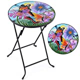 Christow Folding Garden Side Table, Round Glass Top, Hand-Painted Butterflies Flowers, Outdoor Patio Decking