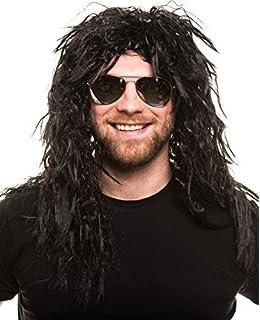 Balinco Roquero Pop Peluca Rizado Negro Peluca Hombre Lang Heavy Metal Alice Cooper Rambo Juego Años