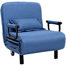 """Giantex 26.6"""" Convertible Sofa Bed Folding Arm Chair Sleeper Leisure Recliner Lounge Couch (Blue)"""