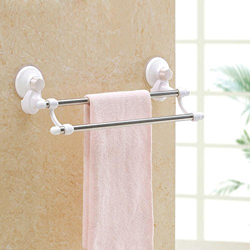 new KHSKX Creative strength with double suction cup 47cm Towel rack, bathroom double rack, strong, good sealed