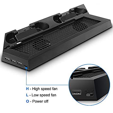 PS4 Console Stand Charging Dock for Controllers, FineGood Vertical Cooling Fans Cooling Stand with Dual Fans, Dualshock Controllers Charger plus 2 HUB+1USB for PlayStation 4