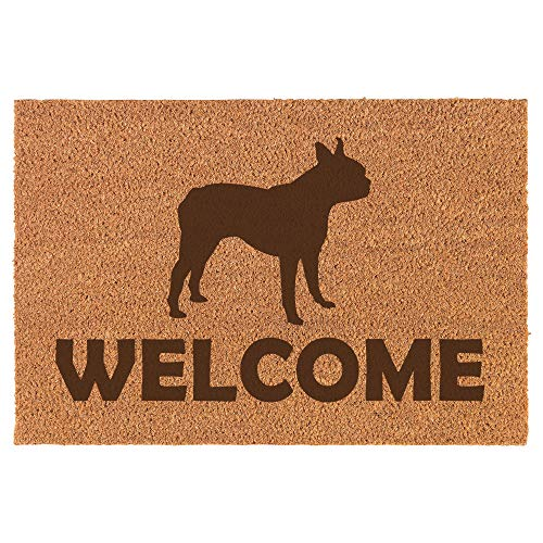 Daylor Coir Door Mat Entry Doormat Welcome Boston Terrier